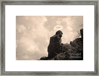 The Praying Monk With Halo - Camelback Mountain Framed Print by James BO  Insogna