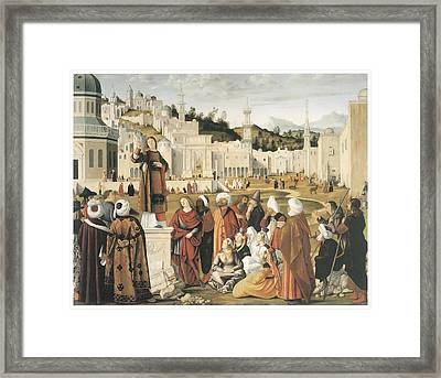 The Preaching Of Saint Stephen In Jerusalem Framed Print by Vittore Carpaccio