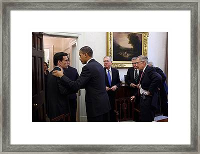 The President Talks With Republican Framed Print by Everett