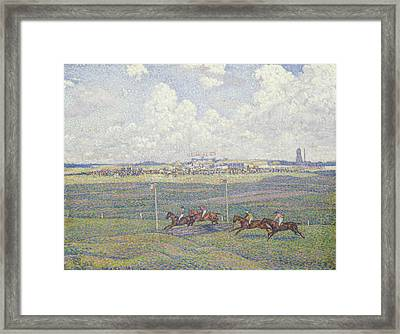 The Racecourse At Boulogne-sur-mer Framed Print by Theo van Rysselberghe