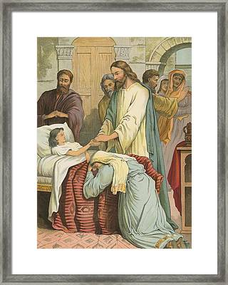 The Raising Of Jairus' Daughter Framed Print by English School