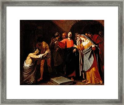 The Raising Of Lazarus Framed Print by Andrea Vacco