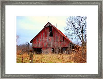 The Red Barn Framed Print by Robin Pross