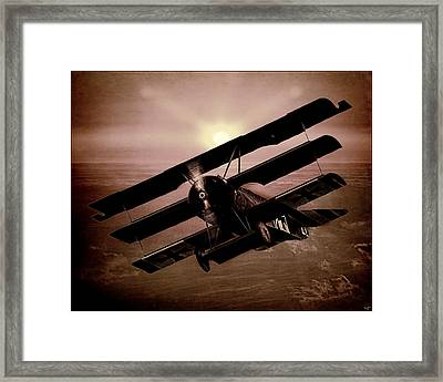 Framed Print featuring the photograph The Red Baron's Fokker At Sunset by Chris Lord