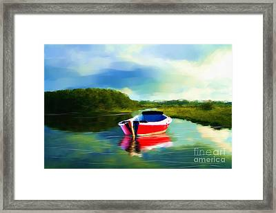 The Red Boat Framed Print by Earl Jackson