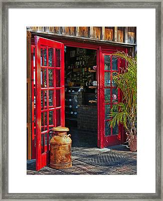 Framed Print featuring the photograph The Red Doors by Judy  Johnson