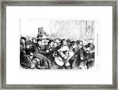 The Red Flag In New York - Riotous Framed Print by Everett
