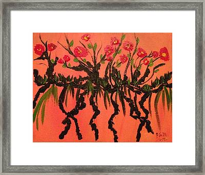 The Red Flowers By Sunset Framed Print by Pretchill Smith