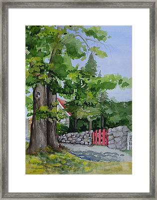 The Red Gate Framed Print by Judi Nyerges