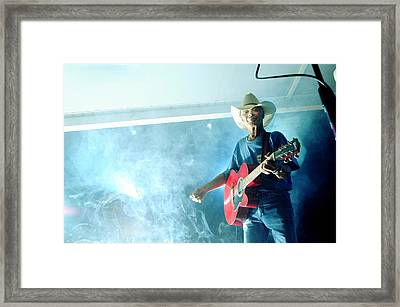 The Red Guitar Framed Print by Mary Frances