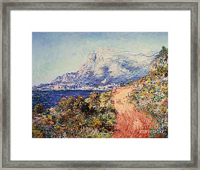 The Red Road Near Menton Framed Print by Claude Monet