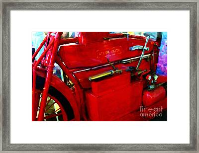 The Red Steam Flyer . Steam Powered Motorcycle . 7d14374 Framed Print by Wingsdomain Art and Photography