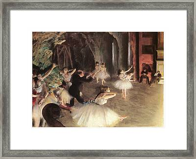 The Rehearsal On The Stage Framed Print by Edgar Degas