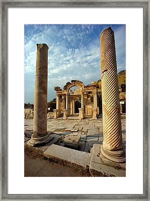 The Remains Of Hadrians Gate At Ephesus Framed Print by Gordon Gahan