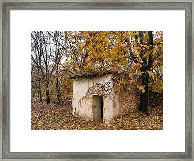 The Remote Autumn Hut Framed Print by Issam Hajjar