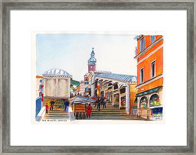 The Rialto Bridge Over The Grand Canal In Venice Italy Framed Print by Dai Wynn