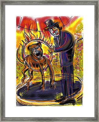 The Ringmaster At Circus Noir Framed Print by Russell Pierce
