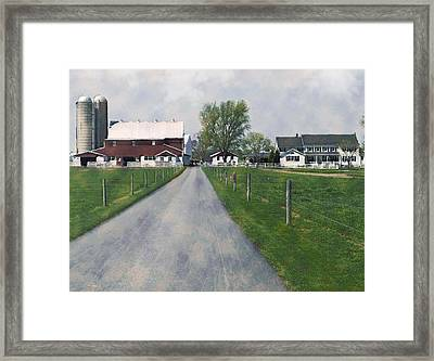 The Road That Leads To Home Framed Print by Kathy Jennings