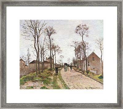 The Road To Saint Cyr At Louveciennes Framed Print by Camille Pissarro