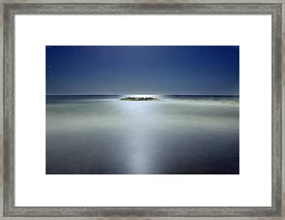 The Rock Island Under De Moonlight Framed Print by Guido Montanes Castillo
