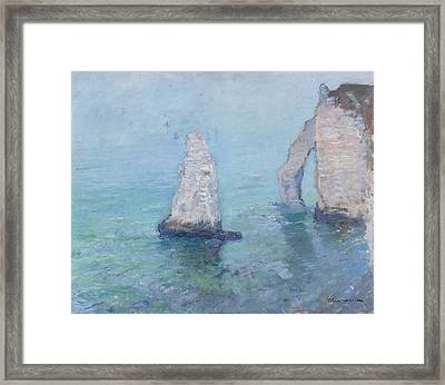 The Rock Needle And The Porte D'aval Framed Print by Claude Monet