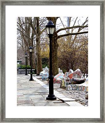 The Rolling Bench Framed Print by Anne Raczkowski