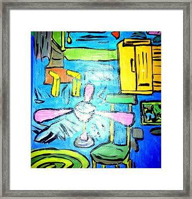 The Room - Acrylic On Paper  Framed Print by Sebastian Joseph