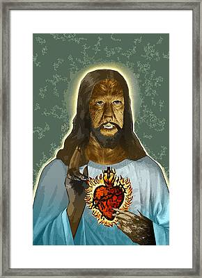 The Sacred Heart Of Wolfman Jesus Framed Print by Travis Burns