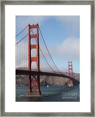 The San Francisco Golden Gate Bridge - 5d18906 Framed Print by Wingsdomain Art and Photography