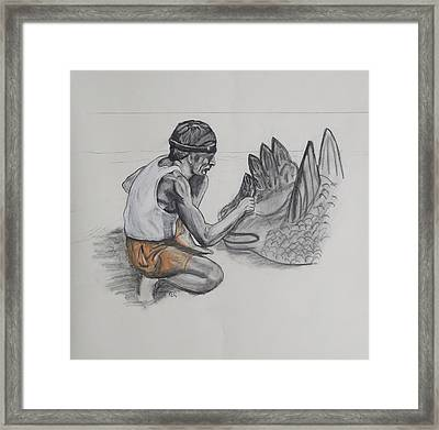 The Sand Sculptor Framed Print by Peter Edward Green
