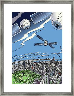 Framed Print featuring the digital art The Satellites Are Watching Us by John Gibbs