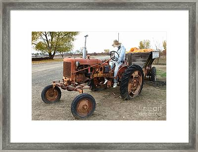 The Scarecrow Riding On The Old Farm Tractor . 7d10299 Framed Print by Wingsdomain Art and Photography