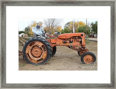 The Scarecrow Riding On The Old Farm Tractor . 7d10301 Framed Print by Wingsdomain Art and Photography