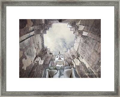 The Sculpture Of Buddha And Blue Sky In Historical Park Thailand  Framed Print by Anek Suwannaphoom