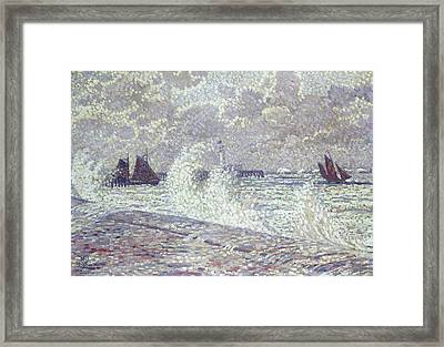 The Sea During Equinox Boulogne-sur-mer Framed Print by Theo van Rysselberghe