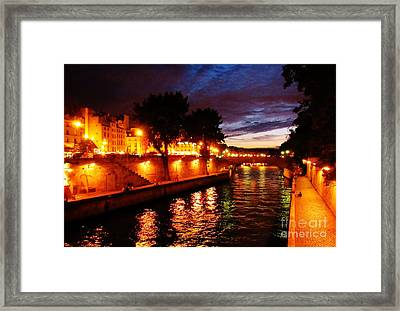 The Seine At Sunset Framed Print
