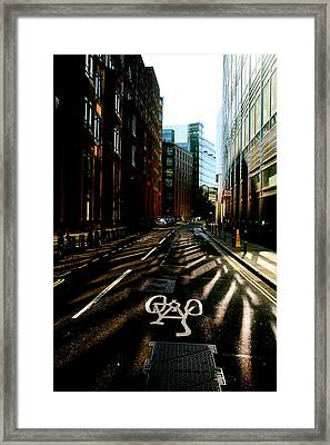 The Shady Streets Of The City Framed Print by Jez C Self
