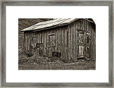 The Shed Sepia Framed Print by Steve Harrington
