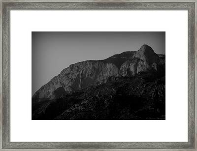 The Shield And Needle Black And White Framed Print by Aaron Burrows