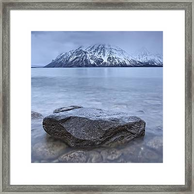 The Shoreline Of Kathleen Lake In Late Framed Print by Robert Postma