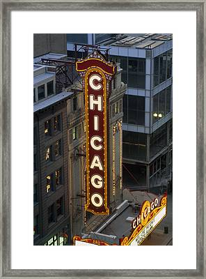 The Sign Outside The Chicago Theater Framed Print by Paul Damien