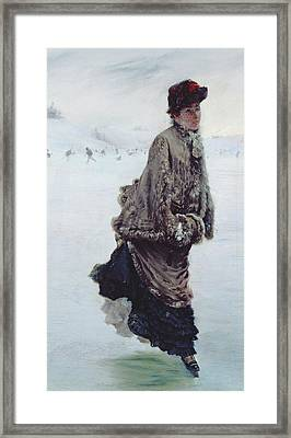The Skater Framed Print by Joseph de Nittis