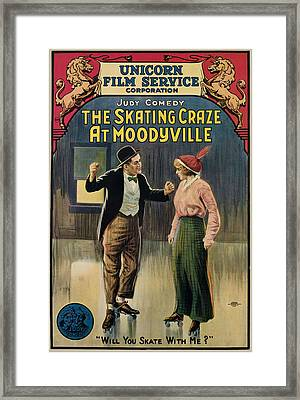 The Skating Craze At Moodyville, 1916 Framed Print by Everett