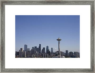 The Skyline Of Seattle On A Sunny Framed Print by Taylor S. Kennedy