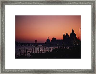 The Skyline Of Venice Silhouetted Framed Print by Nicole Duplaix