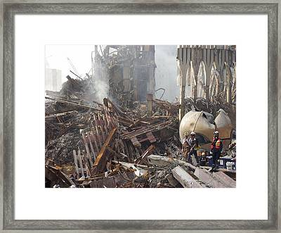 The Smoking Remains Of The World Trade Framed Print
