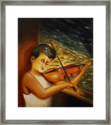 Framed Print featuring the painting The Sound Of Music by Itzhak Richter