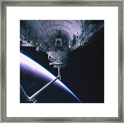 The Space Shuttle With Its Cargo Bay Open Framed Print by Stockbyte