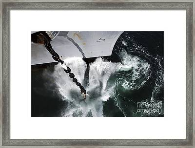 The Starboard Anchor Of Uss Ronald Framed Print