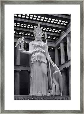 The Statue Of Athena Bw Framed Print by Linda Phelps